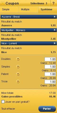 Coupon Système de 3 paris chez le bookmaker EurosportBET