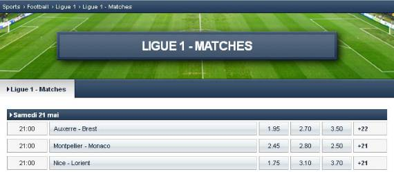 Sélection de 3 paris simples 1X2 de Ligue 1 chez le bookmaker EurosportBET