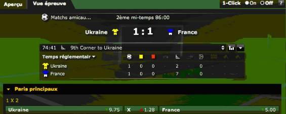 Pronostics de l'opérateur Bwin à la 86eme pour le match amical Ukraine-France dans le cadre des qualifications de l'Euro 2012