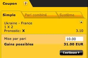 Coupon Bwin avec 10€ de mise sur le Nul du match de foot Ukraine-France dans le cadre des qualifications de l'Euro 2012