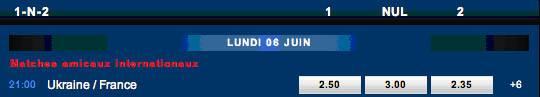 Exemple d'un pari 1N2 sur le match Ukraine-France dans le cadre des qualifications pour l'Euro 2012
