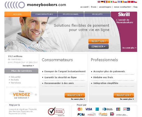 Premier menu du site www.moneybookers.com pour s'inscrire et ouvrir un compte Moneybookers