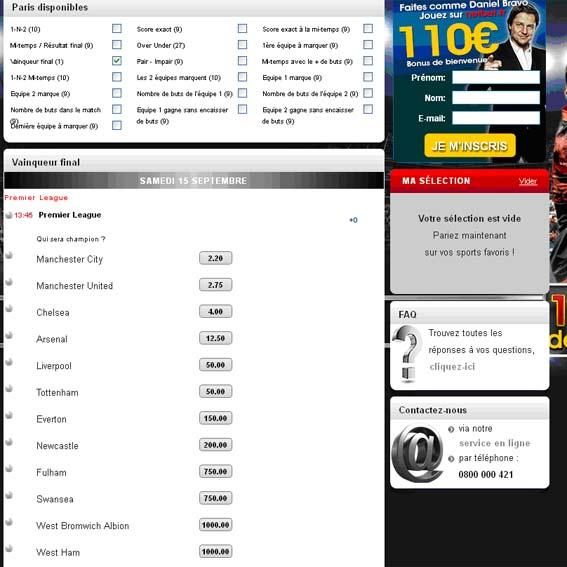 Pronostics et cotes du vainqueur final de Première Ligue Anglaise 2012-2013 chez NetBetSport