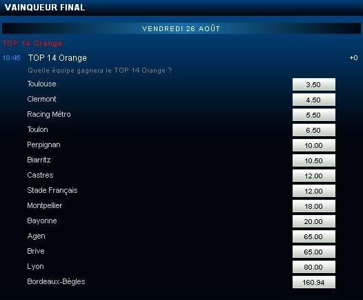 Cote France-Pari du vainqueur de la compétition de Rugby TOP 14 Orange pour la saison 2011-2012