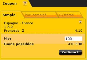 Coupon de jeux du bookmaker Bwin sur la prédiction d'un Nul sur le match Espagne-France en éliminatoire de la Coupe du Monde